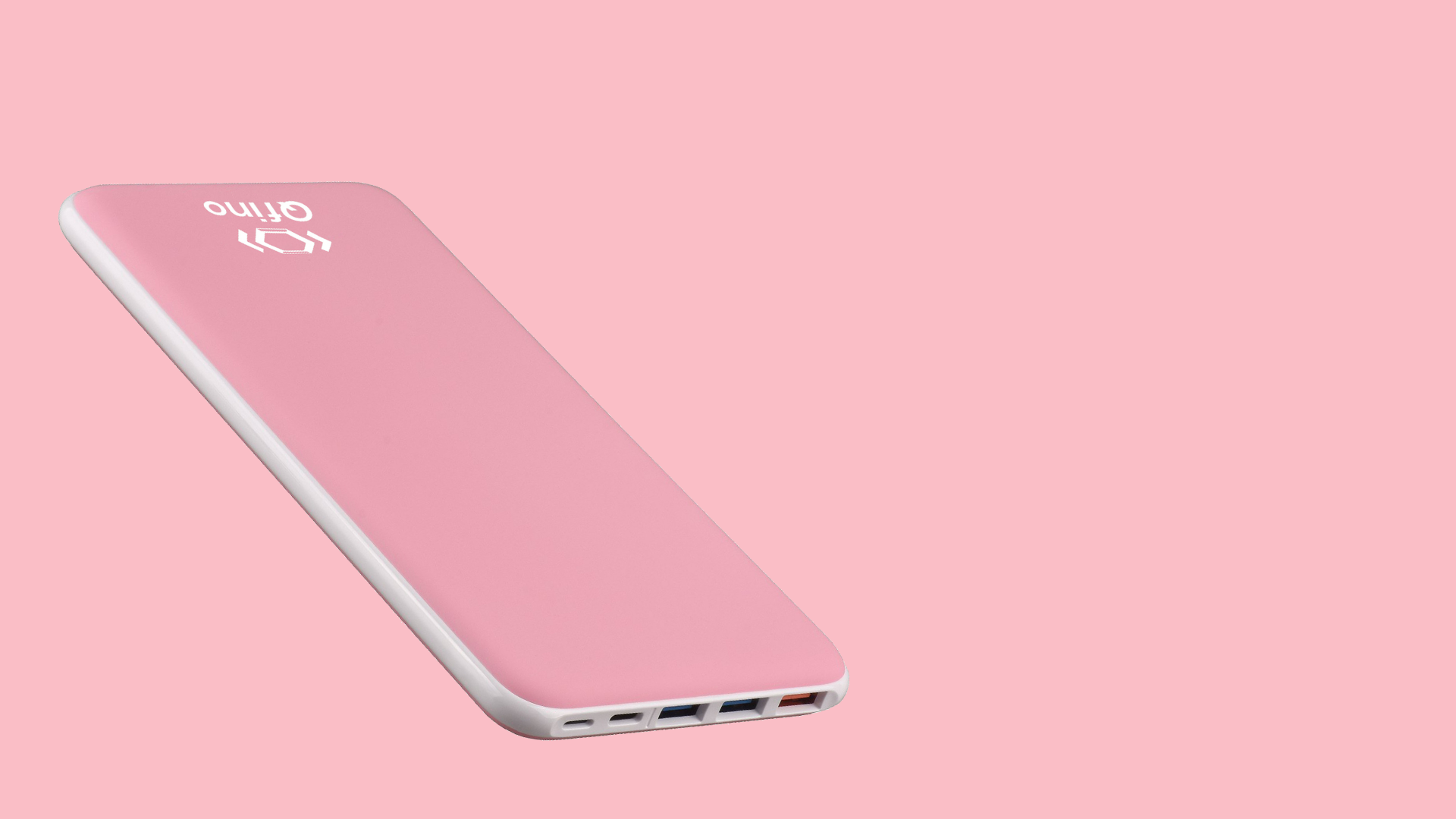 Qfino Power bank Pink background